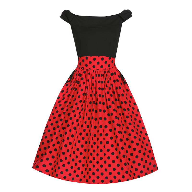 Vintage φόρεμα  Carla  μαύρο κόκκινο πουά – WearStardust ece55f3670d